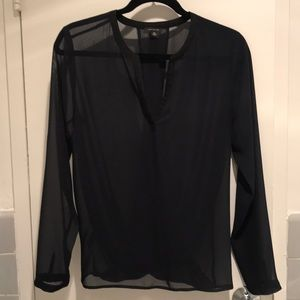 Ann Taylor sheer navy top XS
